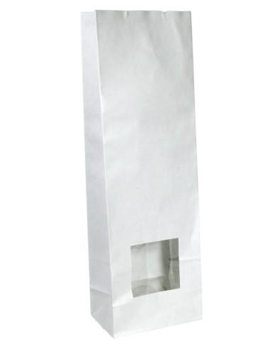 250 Sachets SOS à fenêtre carrée kraft blanc doublé polypro