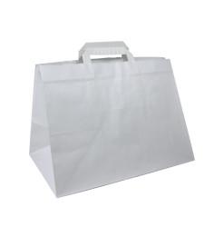 400 Sacs cabas traiteur kraft blanc 32+22x25 cm
