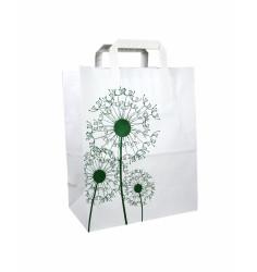 250 Sacs cabas papier à motif floral 26 + 12 x 32 cm