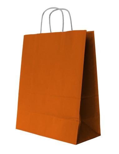 250 Sacs cabas kraft orange à poignées torsadées 36 + 13 x 41 cm