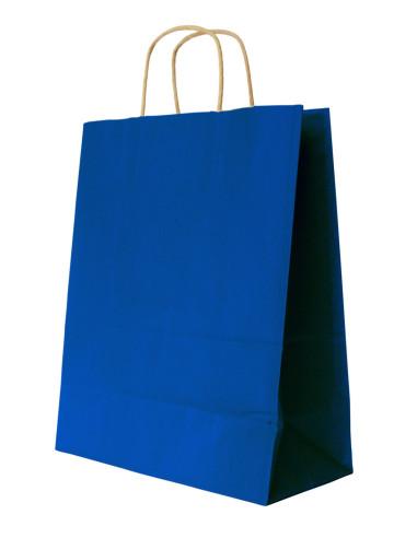 450 Sacs cabas kraft bleu à poignées torsadées 18 + 8 x 24 cm