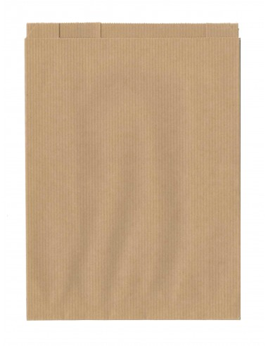 250 Sachets papier à soufflets kraft brun 30 + 7 x 38 cm